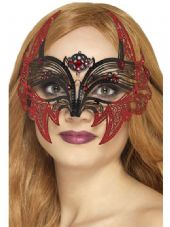 Black Metal Filigree Eyemask with Red Glitter